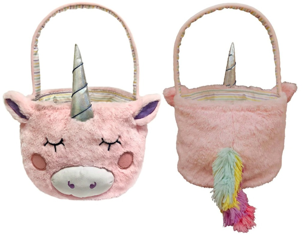 Unicorn themed Easter Basket - front and back view