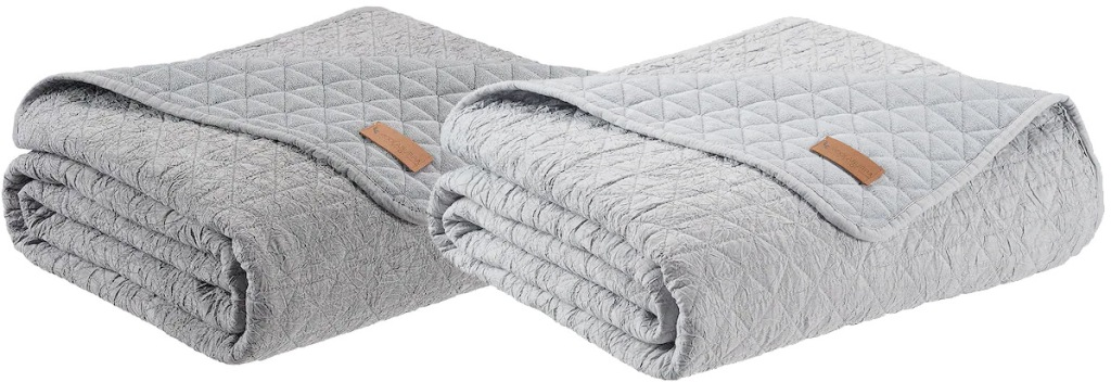 two folded grey colored quilted blankets