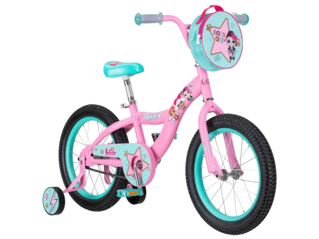 pink and teal kids bike