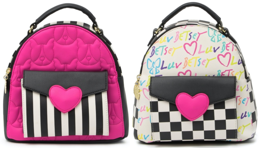 pink heart and black and white striped backpack, and white and black checkered multi-colored love backpack