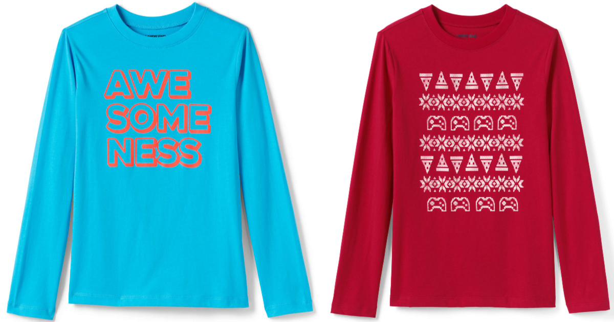 two styles of boys graphic long sleeve tees