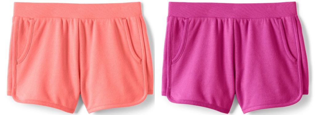two pairs of girls shorts in shades of pink