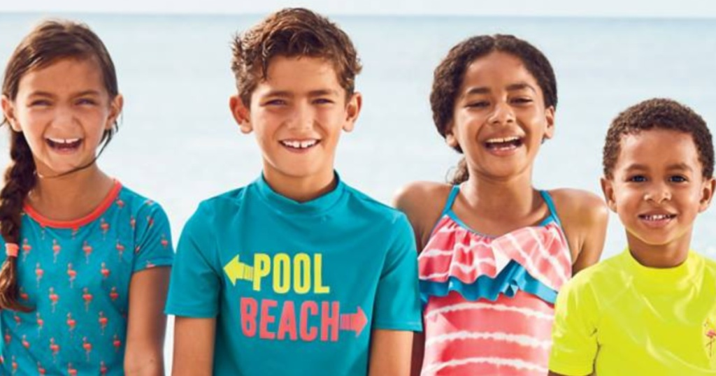 group of kids wearing land's end swimsuits
