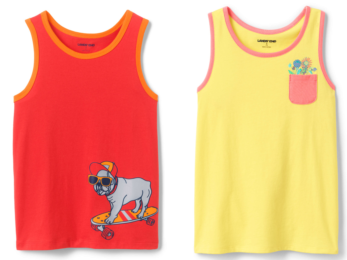 Two styles of kids tank tops
