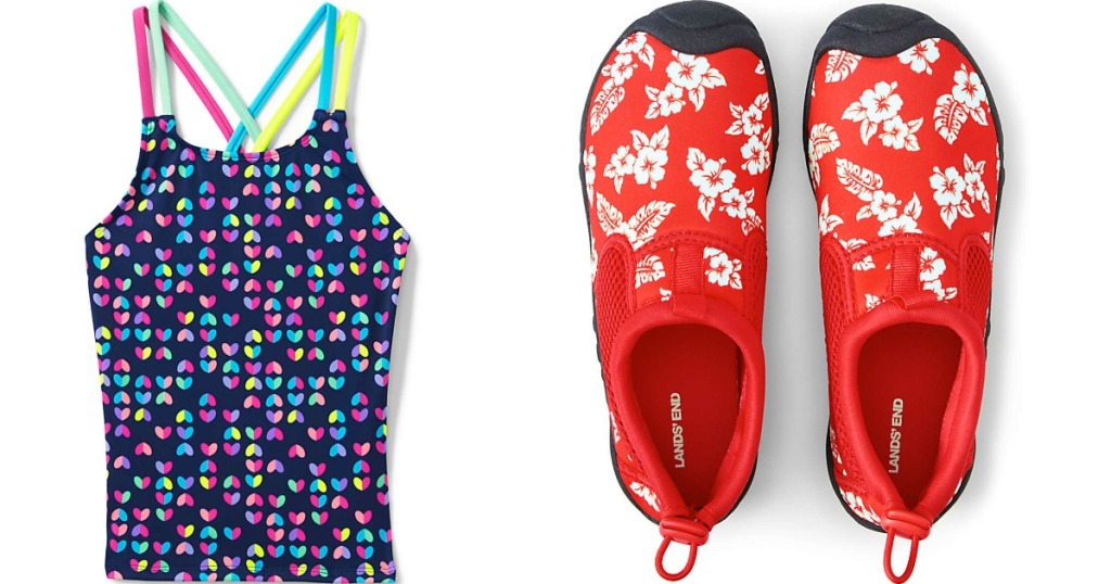 kids swim top and shoes