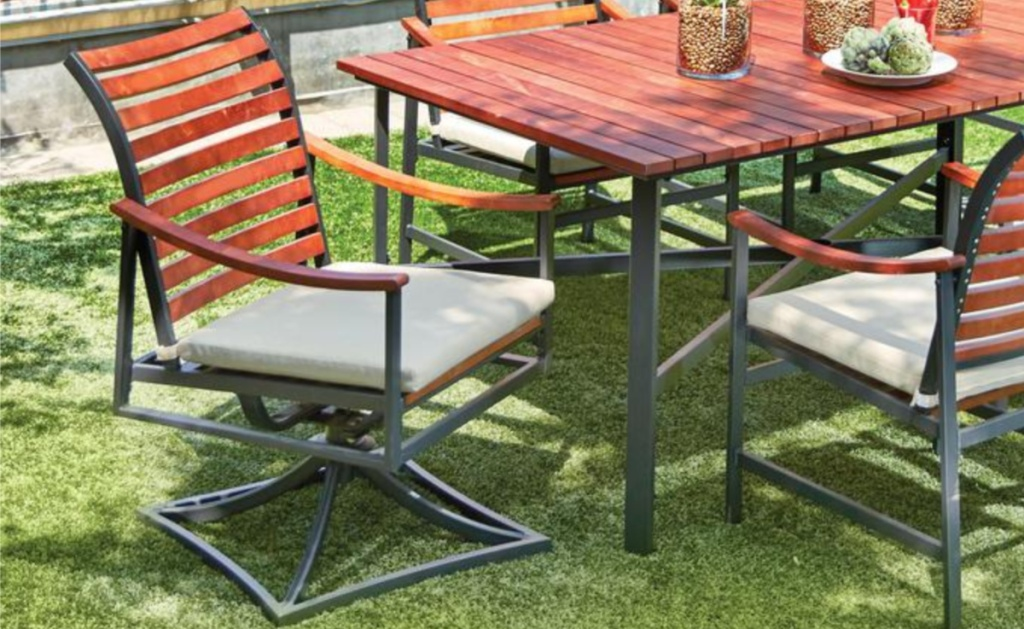 Lawn with Plaza Mayor Swivel Rocking Wood Dining Chair w/ Cushions