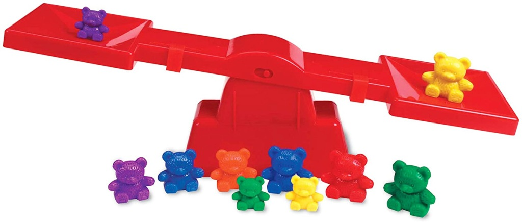 children's red plastic balance scale toy with multi-colored plastic bears