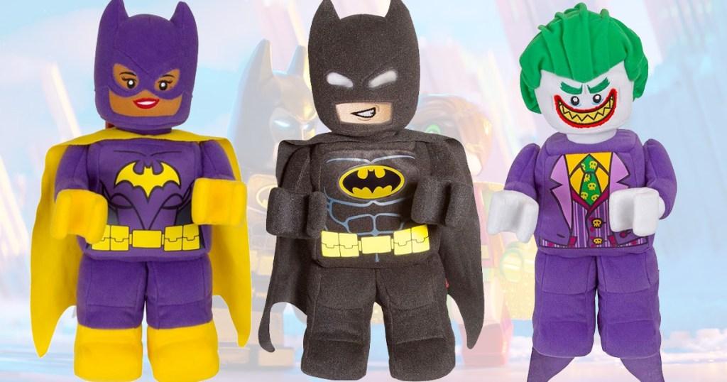 3 lego plush characters including batman, batgirl, and the joker