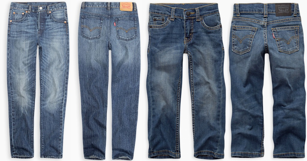 front and back views of two pairs of kids levis jeans
