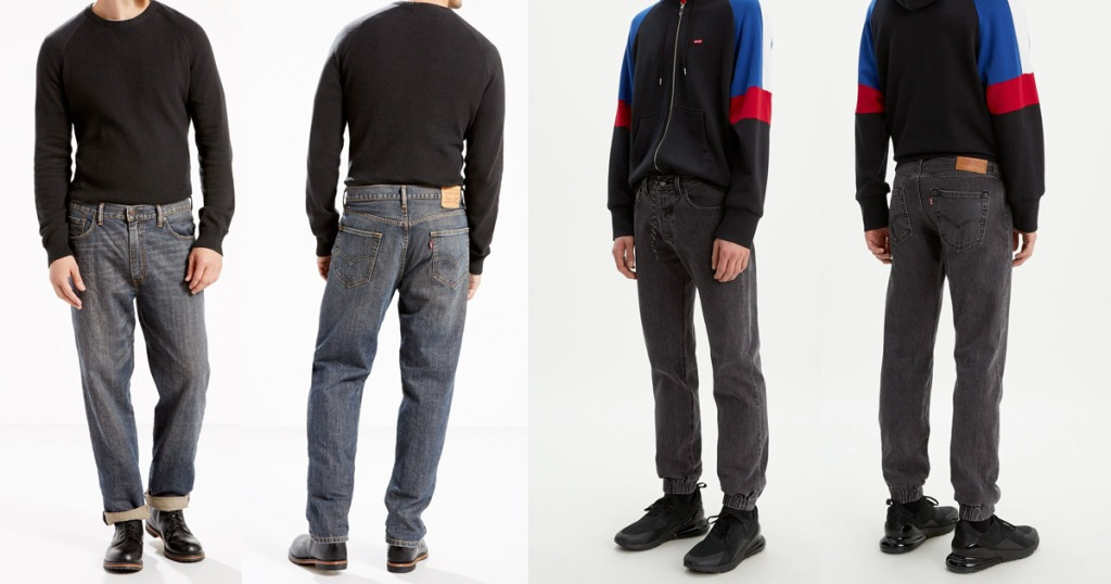 front and back views of two pairs of mens levis jeans