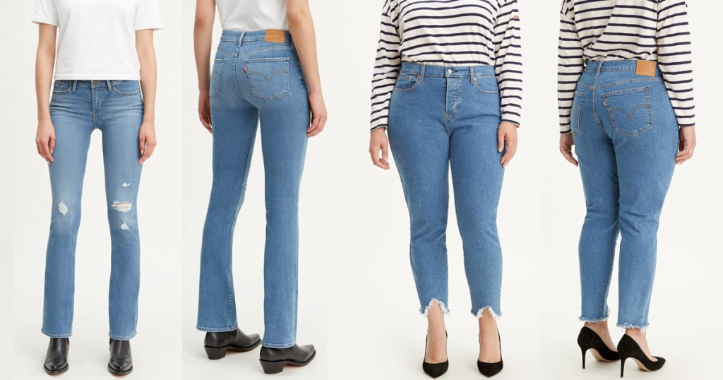front and back views of two pairs of womens levis jeans