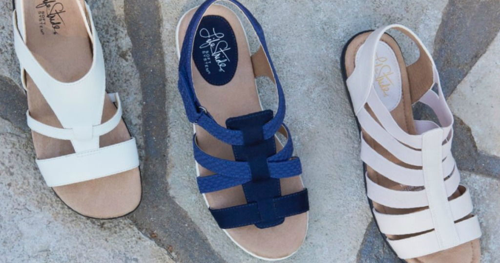 three pairs of sandals in a row