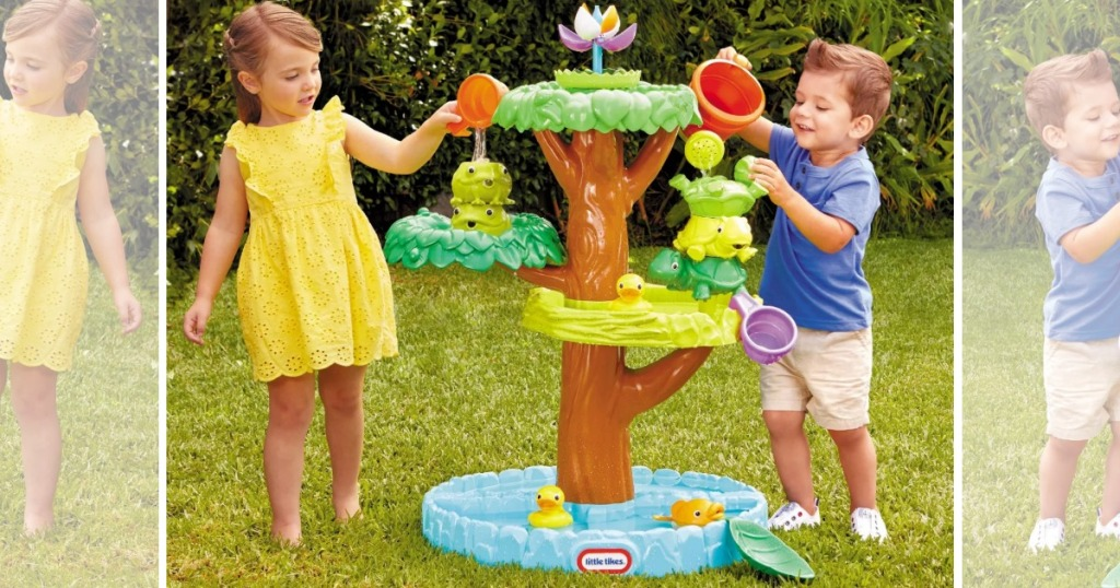 Kids playing withLittle Tikes Magic Flower Water Table with Blooming Flower and Accessories