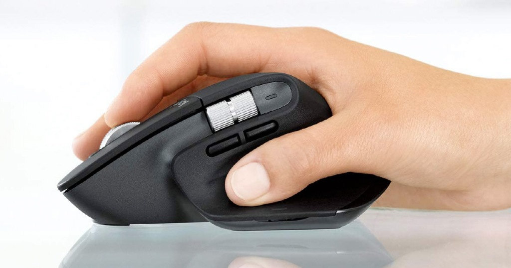 side view of black mouse with thumb buttons