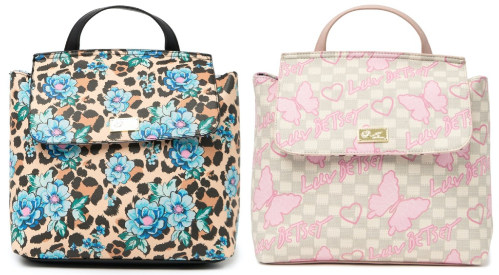 blue floral and cheetah print backpack and pink butterfly and tan checkered backpack