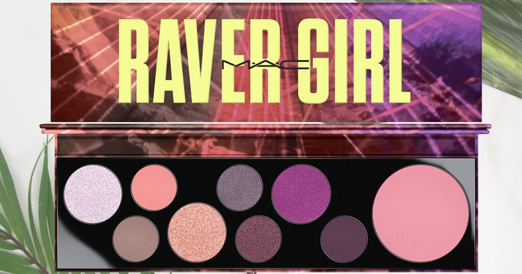 raver girl eyeshadow palette showing 8 shadows and 1 blush included