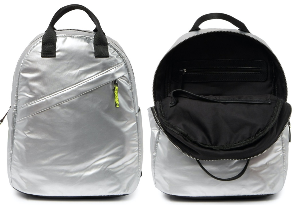 silver nylon backpack and open silver nylon backpack with black interior