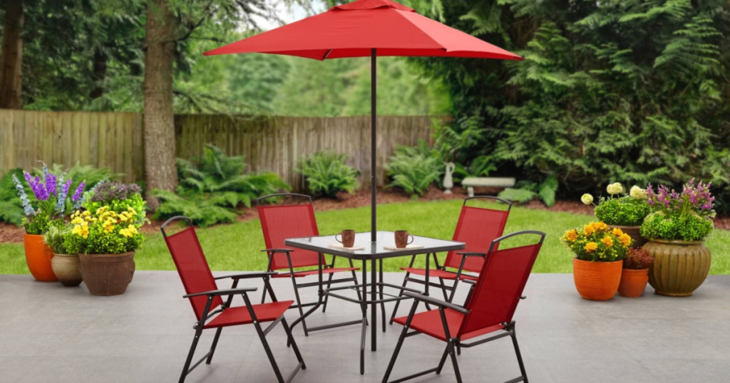 red patio set outdoors