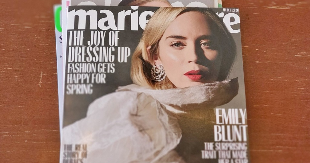 stack of marie claire magazines on top of wooden table