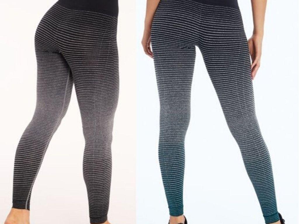 two women wearing striped ombre leggings