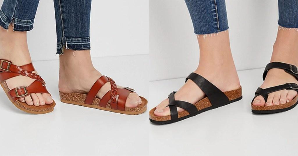 women wearing sandals