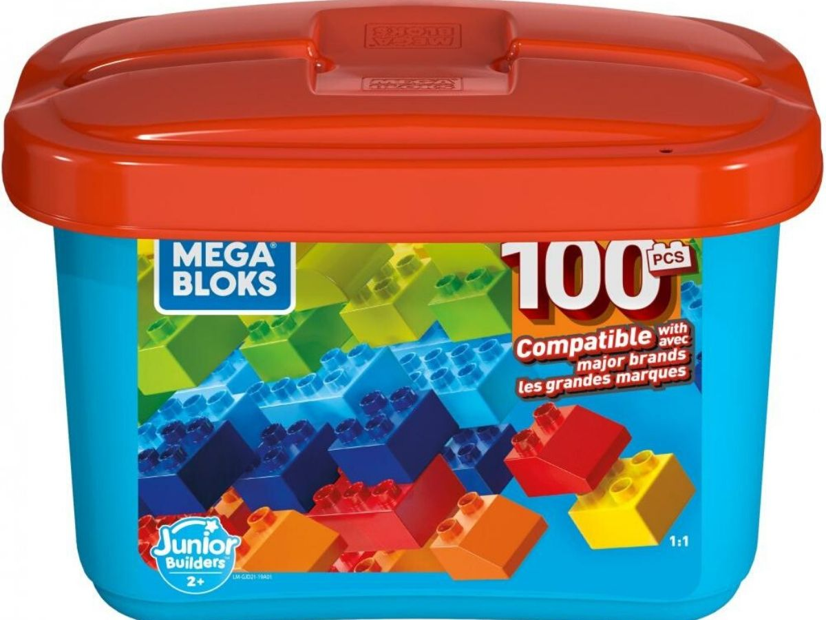 tub filled with 100 pieces of chunky style plastic blocks
