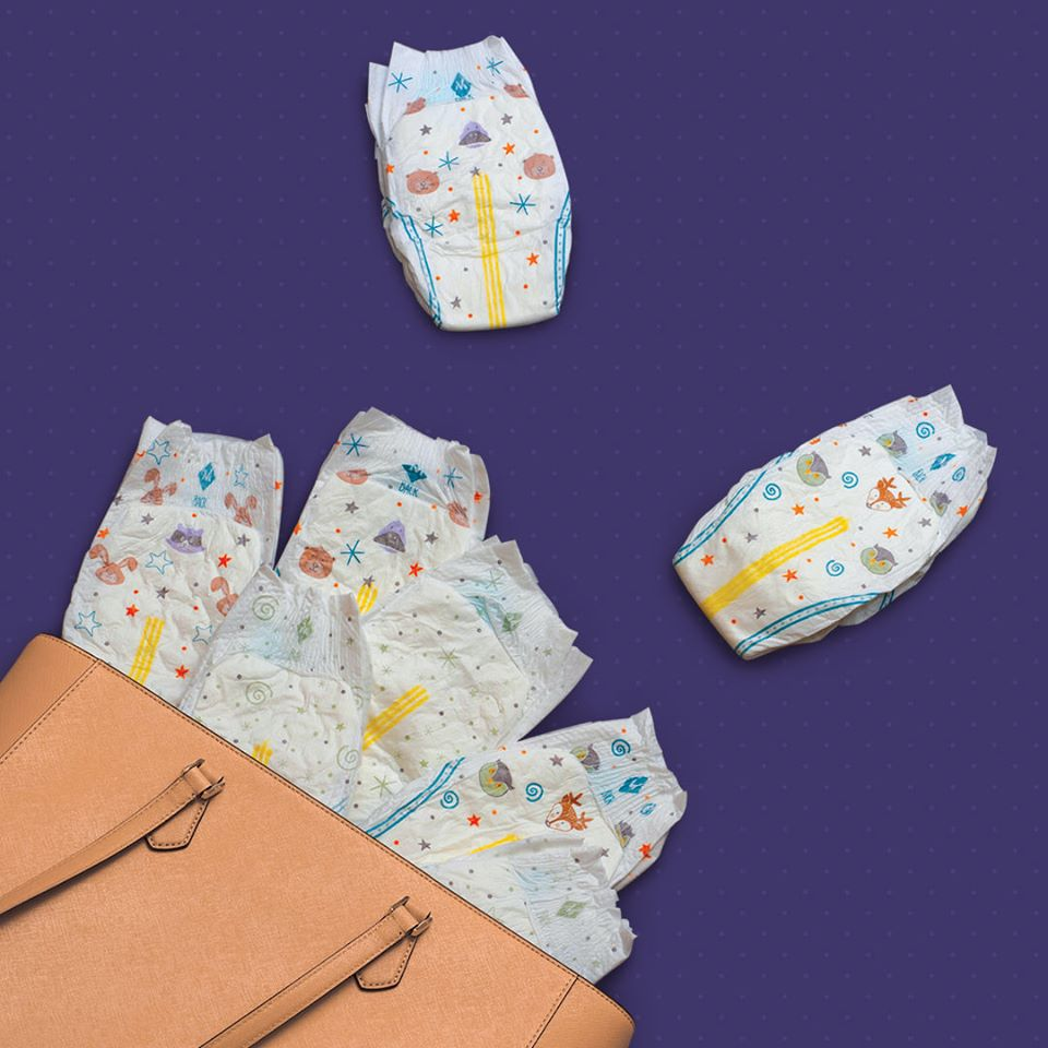 diapers flowing out of a bag