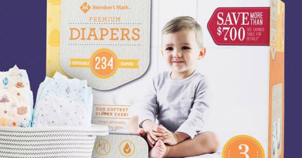 box of diapers by bucket of diapers