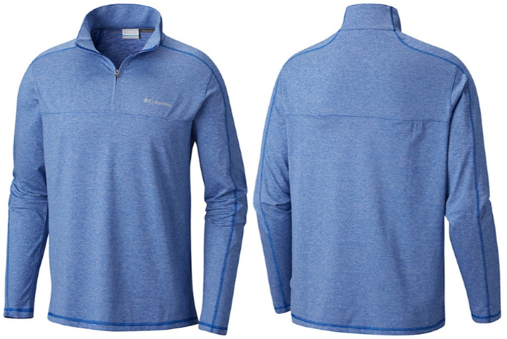 blue colored mens columbia quarter zip jacket front and back image