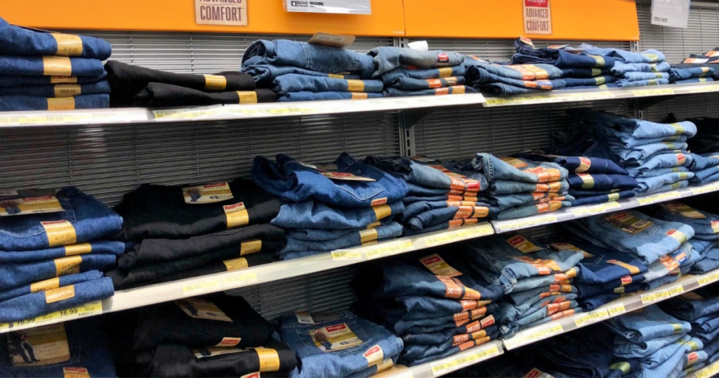mens jeans folded on display at target