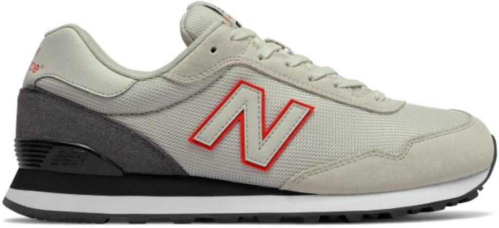 side view of mens new balance 515 shoes in tan color new balance 515 shoes with red bordered N on the side