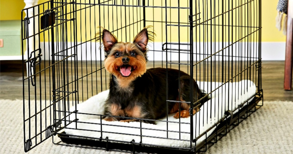dog in crate laying on MidWest Quiet Time Fleece Pet Bed and Crate Mat, 30-Inch