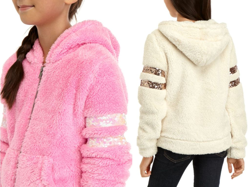 pink and white Miss Chievous Sherpa Sequin Sleeve Jacket