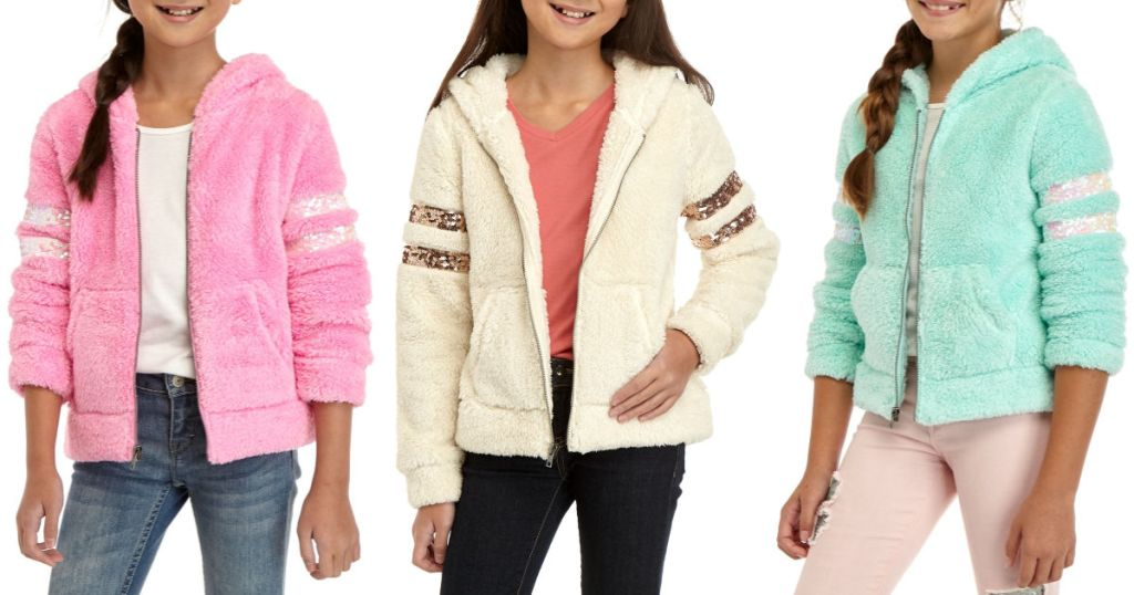pink, white, and mint colored Miss Chievous Sherpa Sequin Sleeve Jacket