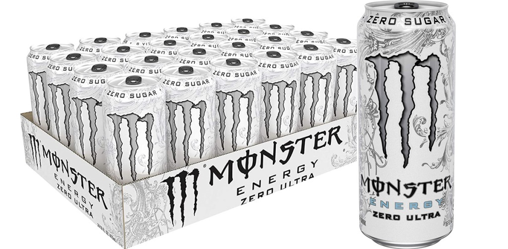 24-pack of monster zero ultra energy drinks in white cans