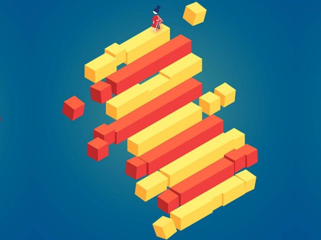 graphics from monument valley 2 game with stairway and hugging mother and child at top