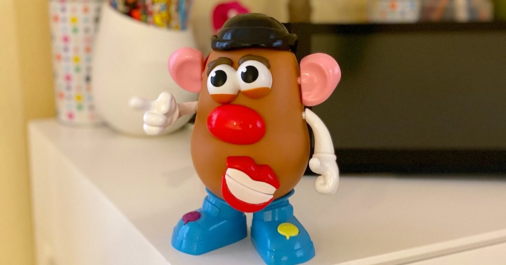 mr potato head movin lips toy standing on desk
