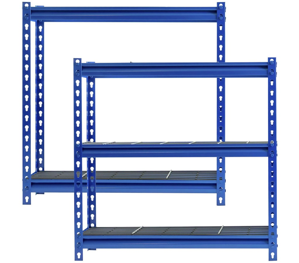 two blue steel shelving units with two shelves each