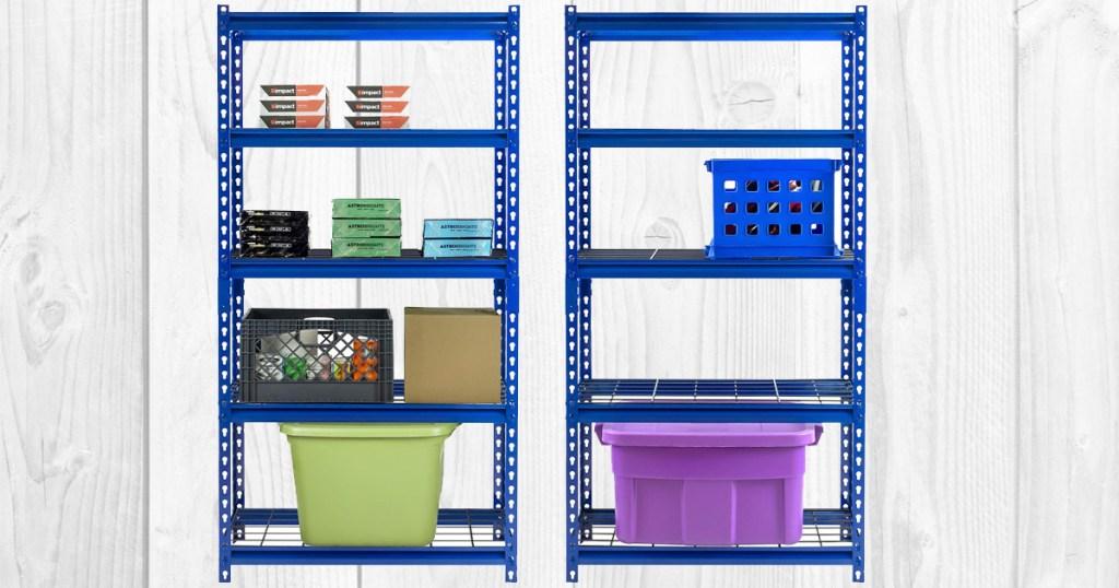 two blue steel five shelf storage shelving units