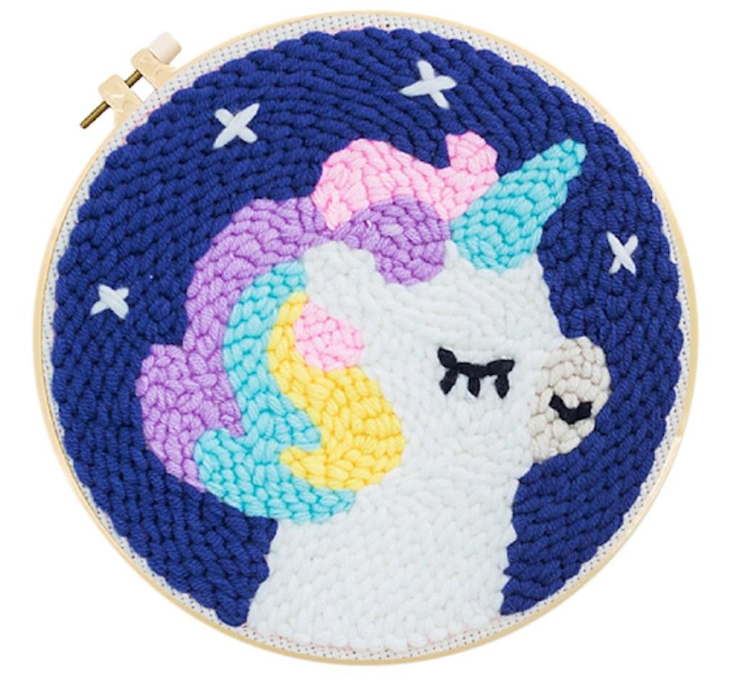 Unicorn Round Punch Needle Kit completed