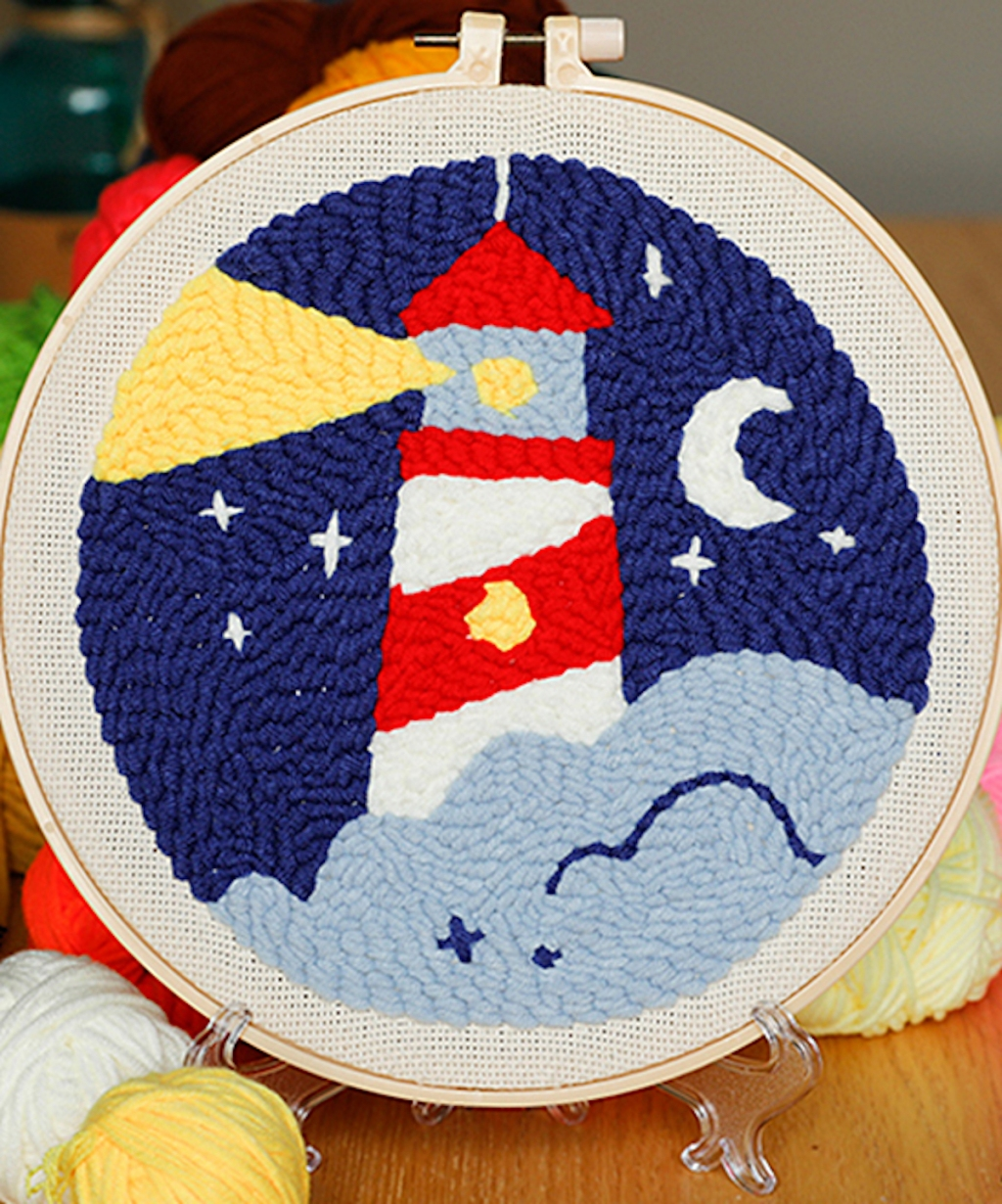 lighthouse punch needle image completed