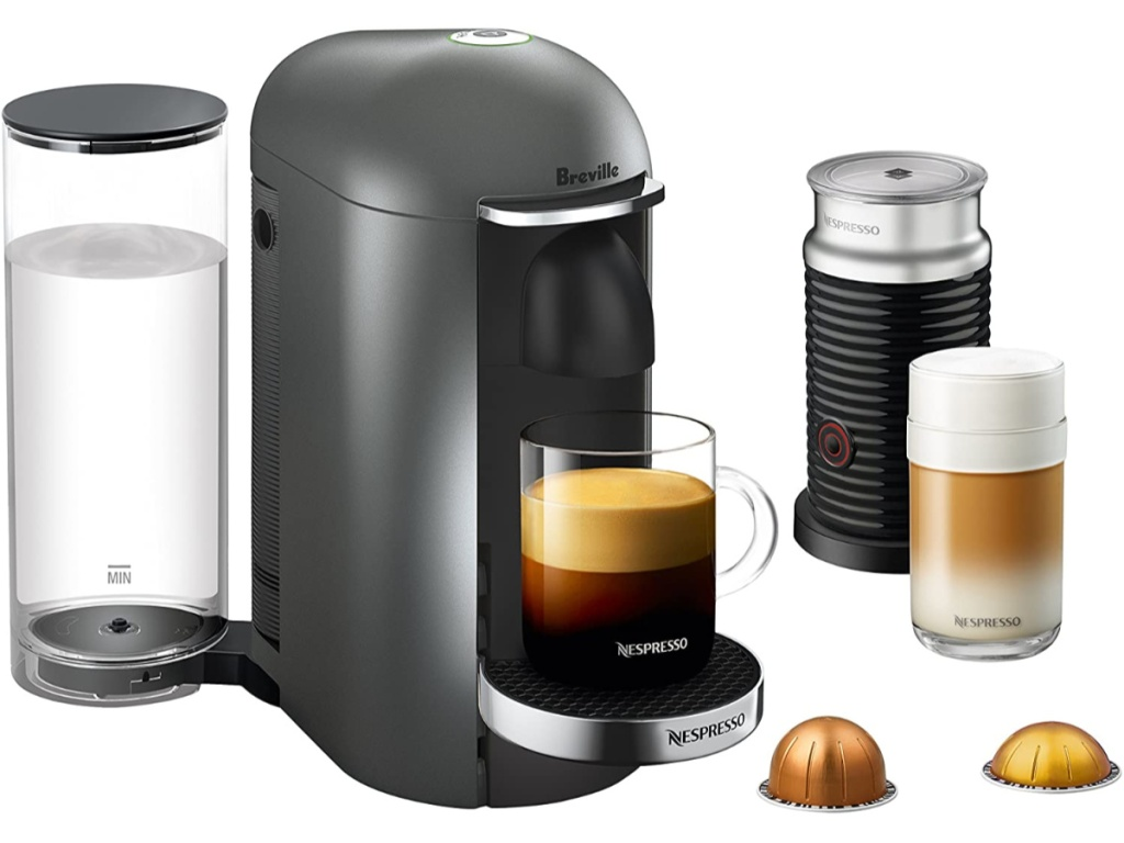 Breville Nespresso maker with frother and pods