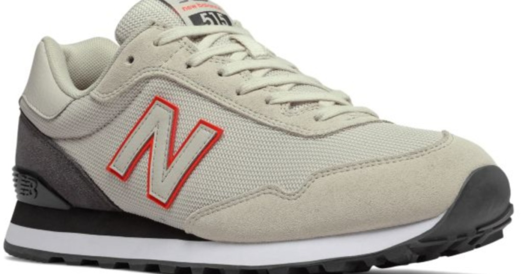 mens tan color new balance 515 shoes with red bordered N on the side