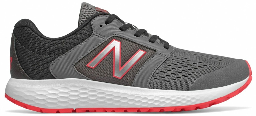 grey mesh new balance running shoe with white foam sole and red accents