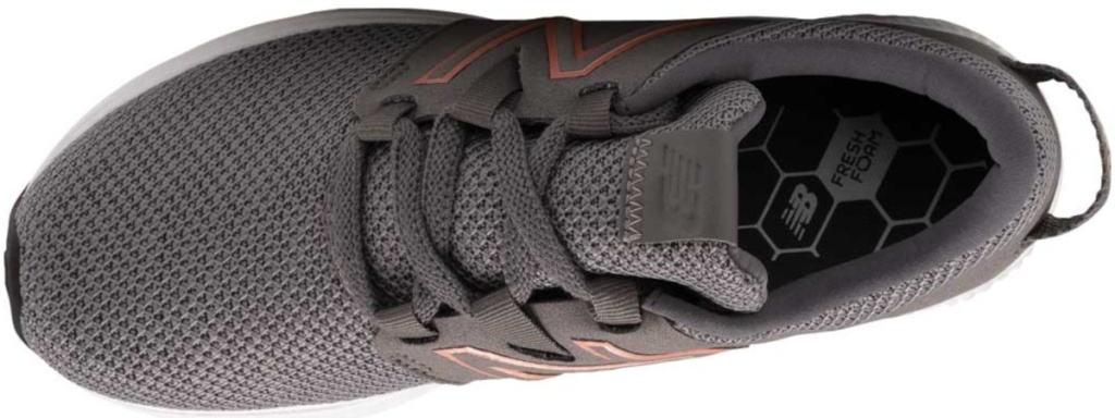 top view of gray new balance shoes