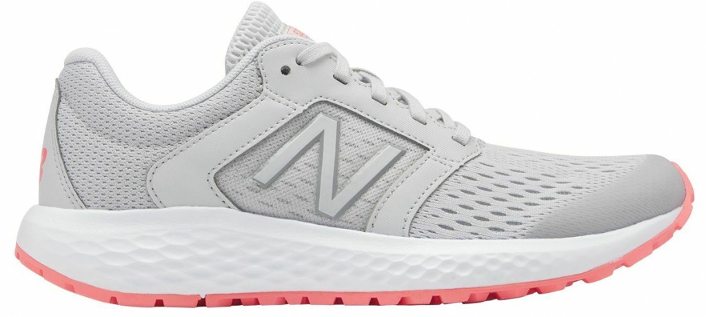 light grey mesh new balance running shoes with white and pink sole