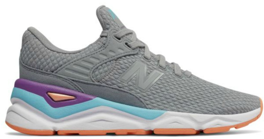 gray women's sneakers with pink, purple and blue details