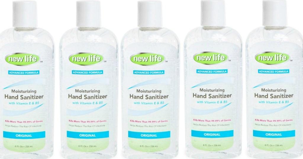 six bottles of hand sanitizer