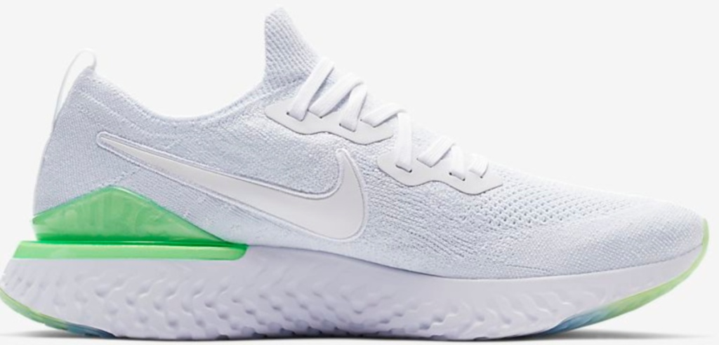 white and green nike shoes