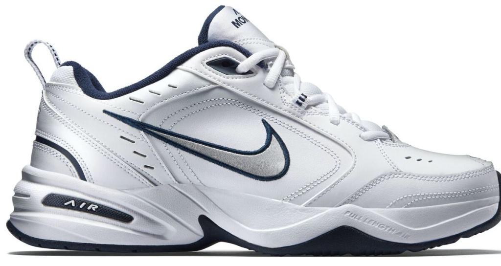 white, silver, and blue men's shoe